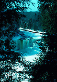 Upper Tahquamenon Falls in winter, in the Upper Peninsula of Michigan, is one of the largest falls east of the Mississippi. It drops fifty feet and is 200 ft wide. Located in Luce county north of Newberry.