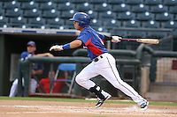 Carlos Arroyo #9 of the AZL Rangers bats against the AZL Cubs at Surprise Stadium on July 6, 2014 in Surprise, Arizona. AZL Rangers defeated the AZL Cubs, 7-5. (Larry Goren/Four Seam Images)
