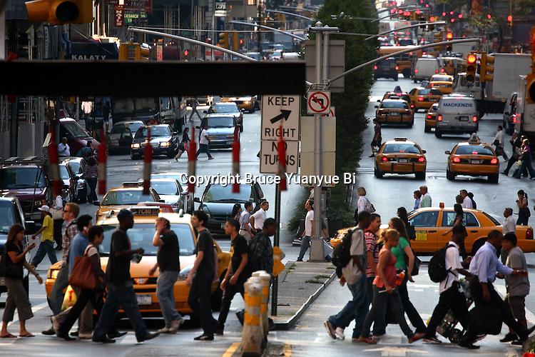 Evening rush hour traffic on Park Avenue. New York City. USA