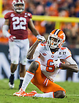 Clemson wide receiver Deon Cain signals a reception on a 14 yard pass against Alabama in the second half of the 2017 College Football Playoff National Championship in Tampa, Florida on January 9, 2017.  Clemson defeated Alabama 35-31. Photo by Mark Wallheiser/UPI
