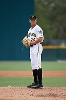 Pittsburgh Pirates pitcher Shane Baz (24) gets ready to deliver a pitch during an Instructional League game against the Tampa Bay Rays on October 3, 2017 at Pirate City in Bradenton, Florida.  (Mike Janes/Four Seam Images)