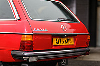 The boot door of the Mercedes W123 series 230TE estate version, outside the Penderyn Whisky Distillery in south Wales, UK. Tuesday 19 June 2018