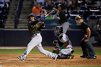 Tampa Tarpons Wendell Rijo (12) at bat in front of catcher Hendrik Clementina (24) and umpire Dillon Wilson during a Florida State League game against the Daytona Tortugas on May 18, 2019 at George M. Steinbrenner Field in Tampa, Florida.  Daytona defeated Tampa 7-6.  (Mike Janes/Four Seam Images)