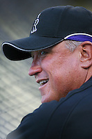 Colorado Rockies Manager Clint Hurdle during batting practice before a game against the Los Angeles Dodgers in a 2007 MLB season game at Dodger Stadium in Los Angeles, California. (Larry Goren/Four Seam Images)