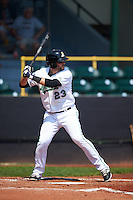 Clinton LumberKings first baseman Pat Leyland (23) at bat during a game against the Great Lakes Loons on August 16, 2015 at Ashford University Field in Clinton, Iowa.  Great Lakes defeated Clinton 3-2.  (Mike Janes/Four Seam Images)