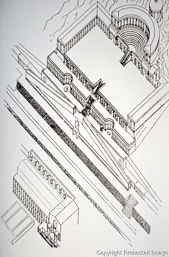 Axonometric architectural rendering of the Sanctuary of Fortuna Primigenia, Palestrina, Italy, AD 80