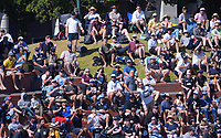 Fans try to catch a six during the third One Day International cricket match between the New Zealand Black Caps and Bangladesh at the Basin reserve in Wellington, New Zealand on Friday, 26 March 2021. Photo: Dave Lintott / lintottphoto.co.nz