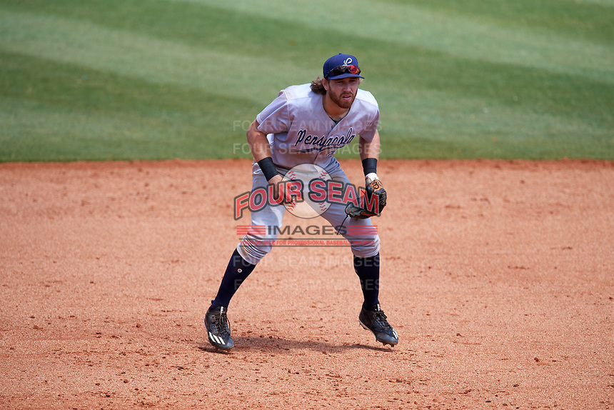 Pensacola Blue Wahoos third baseman Taylor Sparks (27) during a game against the Mobile BayBears on April 26, 2017 at Hank Aaron Stadium in Mobile, Alabama.  Pensacola defeated Mobile 5-3.  (Mike Janes/Four Seam Images)