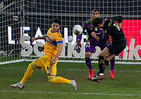 22nd December 2020, Orlando, Florida, USA;  LAFC Daniel Musovski (16) nearly scores during the Concacaf Champions League Final between the LAFC and Tigres on December 22, 2020 at Explorer Stadium in Orlando, FL.