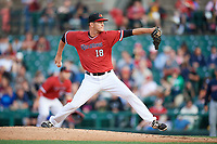 Rochester Red Wings relief pitcher Drew Rucinski (18) delivers a pitch during the first game of a doubleheader against the Scranton/Wilkes-Barre RailRiders on August 23, 2017 at Frontier Field in Rochester, New York.  Rochester defeated Scranton 5-4 in a game that was originally started on August 22nd but was postponed due to inclement weather.  (Mike Janes/Four Seam Images)