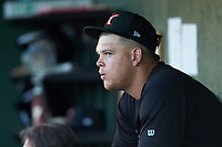 Corey Zangari (23) of the Kannapolis Intimidators sits in the dugout during the game against the Hickory Crawdads at Kannapolis Intimidators Stadium on May 6, 2019 in Kannapolis, North Carolina. The Crawdads defeated the Intimidators 2-1 in game one of a double-header. (Brian Westerholt/Four Seam Images)