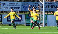 Dames Zulte-Waregem - RSC Anderlecht Dames : vreugde bij Christine Saelens (links) en Zulte-Waregem nadat ze de 2-1 scoorde.foto VDB / BART VANDENBROUCKE.