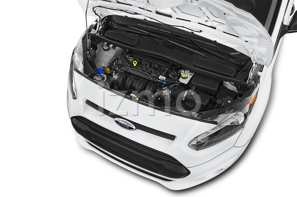 Car Stock 2015 Ford Transit Connect XLT 4 Door Car Van Engine high angle detail view