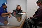 Los Angeles, California<br /> January 31, 2014<br /> <br /> Two PATH case workers interview 55 yr old homeless Navy veteran David Hauser to see if he is eligible for a HUD Vash housing voucher. <br /> <br /> David has been homeless for three years.