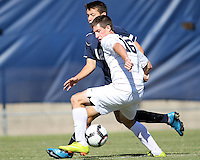 Jimmy Nealis #16 of Georgetwn University keeps the ball away from Sean Margenthal #12 of Villanova University during a Big East match at North Kehoe Field, Georgetown University on October16 2010 in Washington D.C. Georgetown won 3-1.