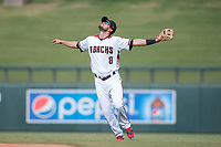 Salt River Rafters second baseman Jack Reinheimer (8), of the Arizona Diamondbacks organization, calls for the ball during an Arizona Fall League game against the Mesa Solar Sox on October 30, 2017 at Salt River Fields at Talking Stick in Scottsdale, Arizona. The Solar Sox defeated the Rafters 8-4. (Zachary Lucy/Four Seam Images)
