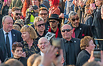 The  funeral of Prodigy singer Keith Flint at St Marys Church in Bocking,  Essex today. Mourners leave the service and band members Liam Howlett, Maxim (Keith Palmer) and Leeroy Thornhill can be seen following Keith's father Clive Flint out of the front gates of the church.