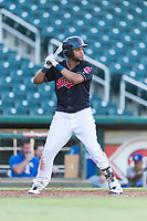 AZL Indians 1 left fielder Cristopher Cespedes (38) at bat during an Arizona League playoff game against the AZL Rangers at Goodyear Ballpark on August 28, 2018 in Goodyear, Arizona. The AZL Rangers defeated the AZL Indians 1 7-4. (Zachary Lucy/Four Seam Images)