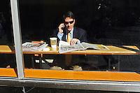 Man in Starbucks; 40th Street corner Lexington Ave.; 1149pm, 17feb2006