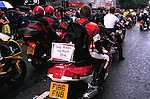 'GAYFEST MANCHESTER, UK', 'GAY BIKERS UP NORTH' DRIVE THROUGH ON THEIR BIKES DURING THE GAY PARADE  IN MANCHESTER, 1999