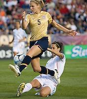 Lindsay Tarpley tries to shoot on goal in front of a sliding Monica Gonzalez..International friendly, USA Women vs Mexico, Albuquerque, NM,.October 20, 2006..USA 1, Mexico 1.