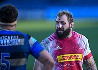 6th February 2021; Recreation Ground, Bath, Somerset, England; English Premiership Rugby, Bath versus Harlequins; Joe Marler of Harlequins chats to Mike Williams of Bath between plays