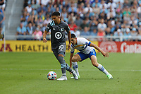 SAINT PAUL, MN - JULY 3: Emanuel Reynoso #10 of Minnesota United FC with the ball during a game between San Jose Earthquakes and Minnesota United FC at Allianz Field on July 3, 2021 in Saint Paul, Minnesota.