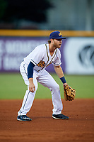 Montgomery Biscuits third baseman Grant Kay (6) during a game against the Mississippi Braves on April 24, 2017 at Montgomery Riverwalk Stadium in Montgomery, Alabama.  Montgomery defeated Mississippi 3-2.  (Mike Janes/Four Seam Images)