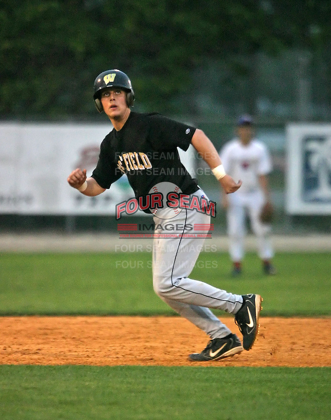 Shortstop/Catcher Brandon Snyder of Westfield High School during a game on May 21, 2005 in Orlando, FL.  Snyder was drafted in the 1st round of the 2005 MLB amateur draft by the Baltimore Orioles.  (Mike Janes/Four Seam Images)