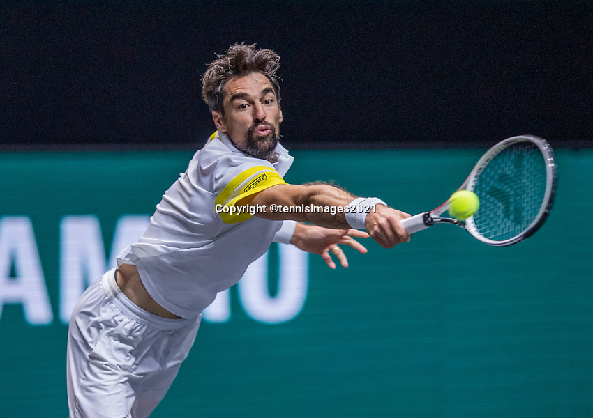 Rotterdam, The Netherlands, 27 Februari 2021, ABNAMRO World Tennis Tournament, Ahoy, Qualyfying match: Jeremy Chardy (FRA)<br /> Photo: www.tennisimages.com/henkkoster