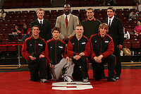 26 February 2006: Stanford's Kevin Klemm, Kerry McCoy, John Clark, Matt Gentry, Scott Loescher, Tanner Gardner, Ray Blake and Luke Feist after the Pac-10 Wrestling Championships at Maples Pavilion in Stanford, CA.