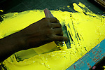 Old fashioned Silk Screen process is used for printing on garments in Tirupur, at printing unit owned by Popy's  Industry Ltd.  Tamilnadu. After lifting of quota system in textile export on 1st january 2005. Tirupur has become the biggest foreign currency earning town of India.