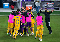 22nd December 2020, Orlando, Florida, USA;  Tigres celebrate winning during the Concacaf Champions League Final between the LAFC and Tigres on December 22, 2020 at Explorer Stadium in Orlando, FL.