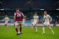 9th January 2021; Turf Moor, Burnley, Lanchashire, England; English FA Cup Football, Burnley versus Milton Keynes Dons; Phillip Bardsley of Burnley on the ball with 3 MK dons defender against him