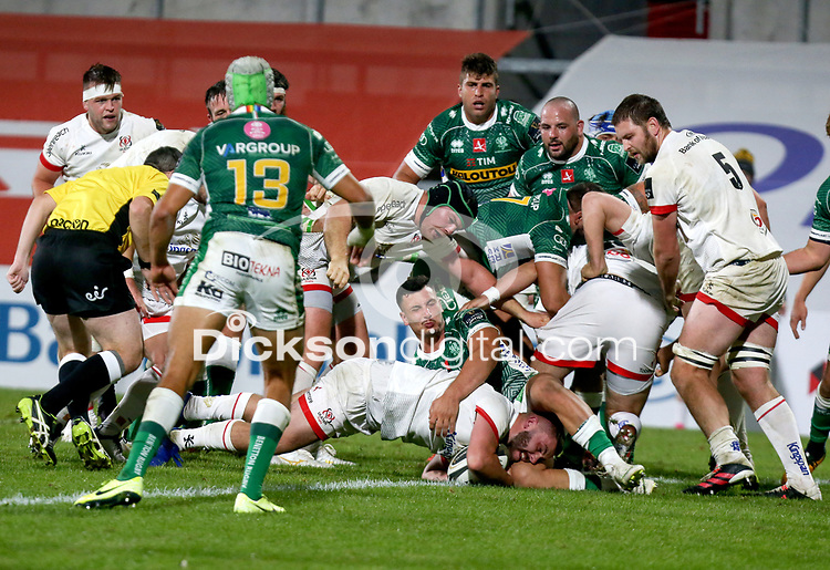 Friday 2nd October 2020 | Ulster Rugby vs Benetton Rugby<br /> <br /> Adam McBurney scores the fifth Ulster try during the PRO14 Round 1 clash between Ulster Rugby and Benetton Rugby at Kingspan Stadium, Ravenhill Park, Belfast, Northern Ireland. Photo by John Dickson / Dicksondigital