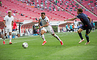 ZAPOPAN, MEXICO - MARCH 21: Jonathan Lewis #7 of the United States moves with the ball during a game between Dominican Republic and USMNT U-23 at Estadio Akron on March 21, 2021 in Zapopan, Mexico.