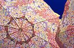 Multi-Colored umbrellas with blue sky