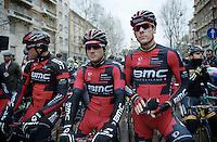 at the start: Greg Van Avermaet (BEL/BMC), Danilo Wyss (CHE/BMC) & Philippe Gilbert (BEL/BMC)<br /> <br /> 2014 Milano - San Remo