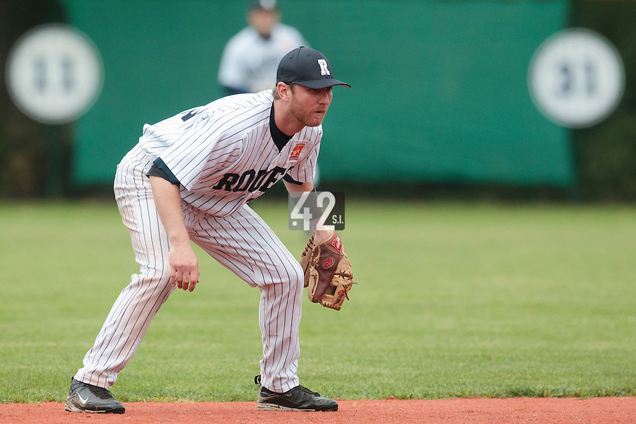 23 October 2010: Aaron Hornostaj of Rouen is seen on defense during Savigny 8-7 win (in 12 innings) over Rouen, during game 3 of the French championship finals, in Rouen, France.