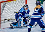 1 December 2018: University of Maine Black Bear Goaltender Carly Jackson, a Junior from Amherst, Nova Scotia, gives up the first goal of the game in the first period to the University of Vermont Catamounts at Gutterson Fieldhouse in Burlington, Vermont. The Lady Cats defeated the Lady Bears 3-2 in the second game of their 2-game Hockey East series. Mandatory Credit: Ed Wolfstein Photo *** RAW (NEF) Image File Available ***