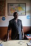 CAR, Bangui: Tolossaint M.-Jacques, director of the Galabadga school in his office. 15th April 2016<br /> <br /> RCA, Bangui : Tolossaint M.- Jacques , directeur de l'école Galabadga dans son bureau . 15 Avril 2016