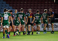 9th September 2020; Twickenham Stoop, London, England; Gallagher Premiership Rugby, London Irish versus Harlequins; Chris Robshaw of Harlequins shakes hands with Marc Thomas of Harlequins after full time