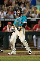 Anthony Marks #29 of the Coastal Carolina Chanticleers celebrates during a College World Series Finals game between the Coastal Carolina Chanticleers and Arizona Wildcats at TD Ameritrade Park on June 28, 2016 in Omaha, Nebraska. (Brace Hemmelgarn/Four Seam Images)