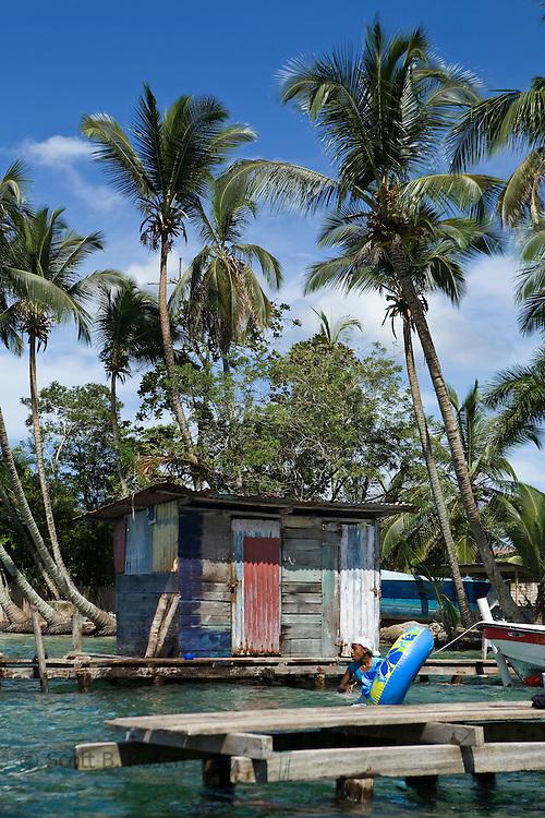 Scene at the dock at Isla Carenero, across from Bocas Town, Bocas del Toro, Panama