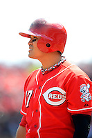 Cincinnati Reds outfielder Shin-Soo Choo #17 during a game against the Miami Marlins at Great American Ball Park on April 20, 2013 in Cincinnati, Ohio.  Cincinnati defeated Miami 3-2 in 13 innings.  (Mike Janes/Four Seam Images)
