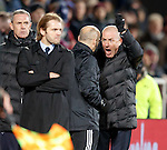 Mark Warburton and David Weir with the fourth official after the disallowed goal