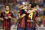 FC Barcelona's Pedro Rodriguez, Leo Messi, Neymar Santos Jr and Cesc Fabregas celebrate goal during La Liga match.September 1,2013. (ALTERPHOTOS/Acero)