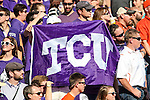 TCU Horned Frogs and Oklahoma State Cowboys fans watch the action during the game between the OSU Cowboys and the TCU Horned Frogs at the Amon G. Carter Stadium in Fort Worth, Texas. TCU defeated OSU 42 to 9.