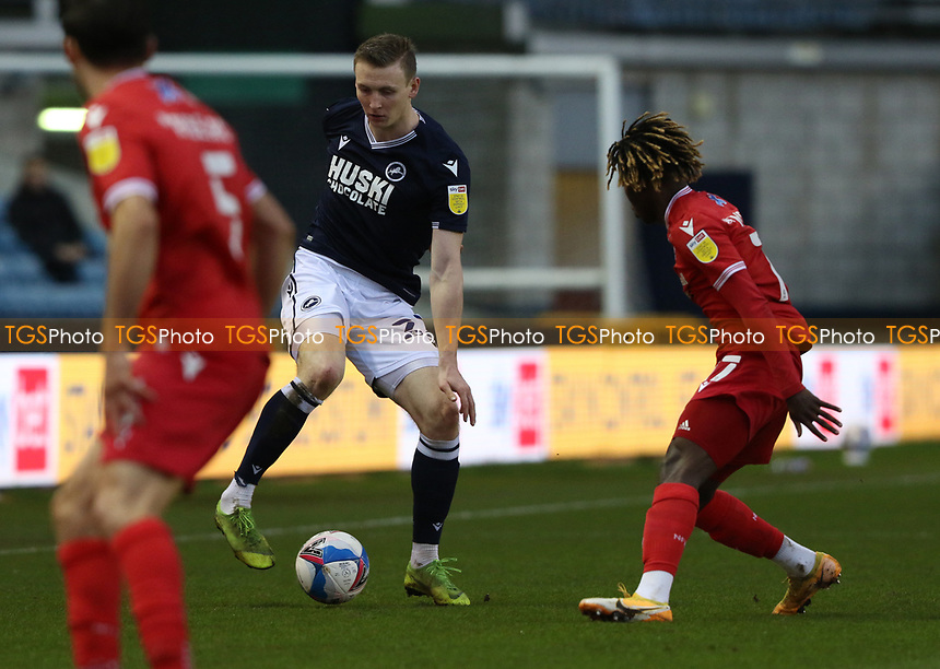 Jon Daoi Boovarsson of Millwall on the ball during Millwall vs Nottingham Forest, Sky Bet EFL Championship Football at The Den on 19th December 2020
