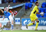 St Johnstone v St Mirren....04.10.14   SPFL<br /> James McFadden's shot at goal is blocked<br /> Picture by Graeme Hart.<br /> Copyright Perthshire Picture Agency<br /> Tel: 01738 623350  Mobile: 07990 594431